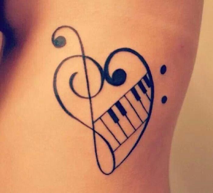 tatouage note de musique coeur fa piano clef sol