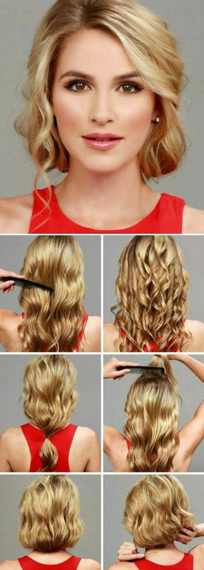 coiffure gatsby cheveux blonds, faux carré ondulant, femme élégante