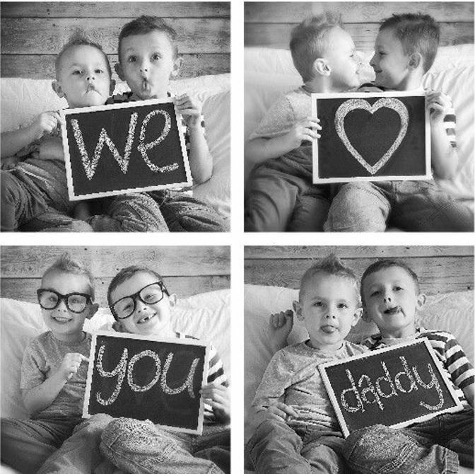 cadeau fête des pères à fabriquer, des photos de deux garçons, message je t aime, collage quatre photos en noir et blanc