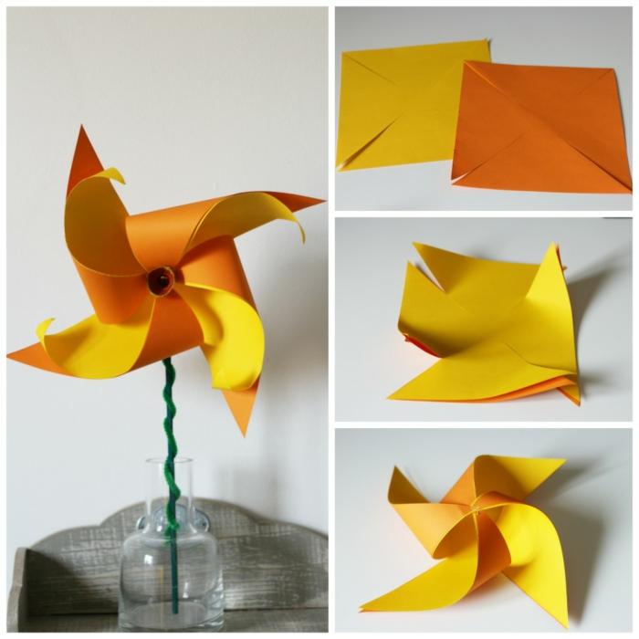 comment faire un joli moulin à vent fleur décoratif, joli vase soliflore en verre, jonquille en papier à double face