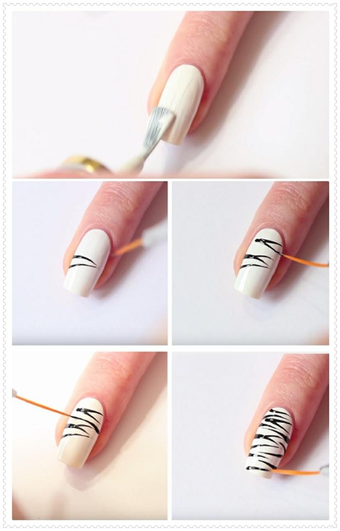ongles longs, vernis blancs, lignes noires, décoration avec pinceau, comment avoir de beaux ongles