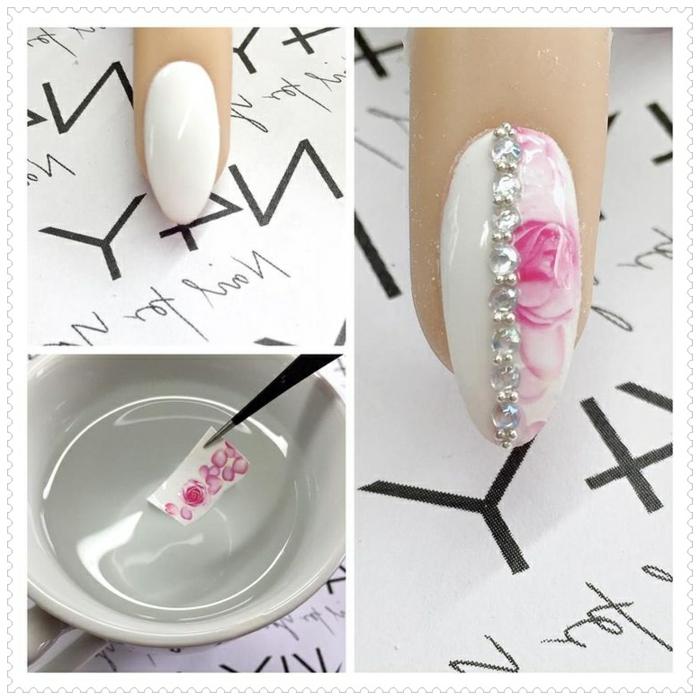 nail art tuto, décoration avec stickers, nail art, motifs floraux, manucure blanche, cristaux pour ongles
