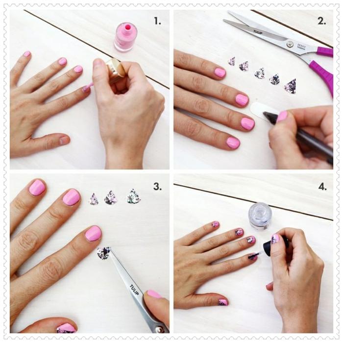 comment avoir de beaux ongles, manucure pour ongles courts, décoration nail avec stickers, étapes à suivre, nail tuto