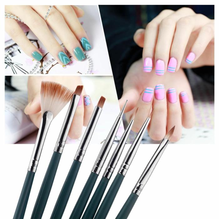 ongle manucure, outils pour réaliser un nail art, pinceaux à ongles, couleur rose, lignes triangulaires, ongles longs