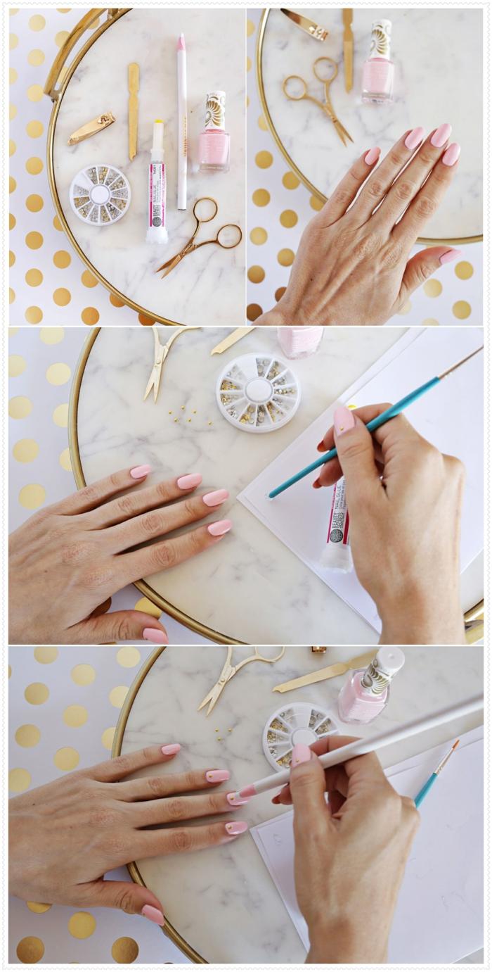 nail art tuto, ongles longs, manucure rose, paire de ciseaux dorés, coupe-ongles, vernis rose, cristaux dorés pour ongles
