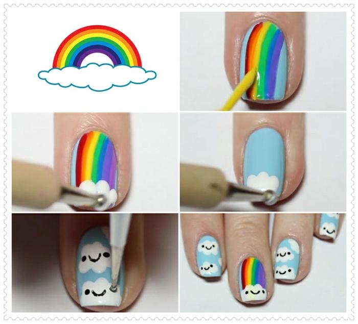 faire les ongles, dessin arc-en-ciel, nuages sur les ongles, dotting pinceau, vernis à ongles bleu, manucure maison