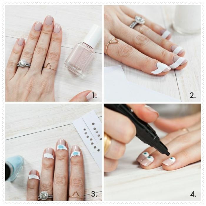nail art tuto, manucure nude, bague en argent, table en bois, stickers pour manucure français, décoration ongles
