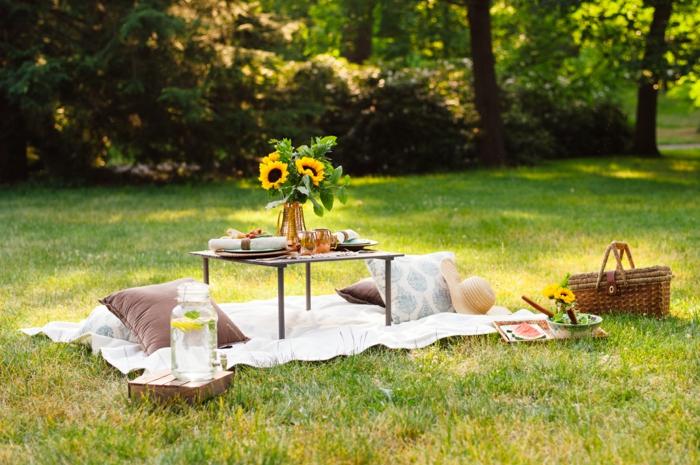 que faire quand on s ennuie avec une amie, panier pique nique, table pique nique, gazon vert, bouquet de tournesol, idee pour pique nique