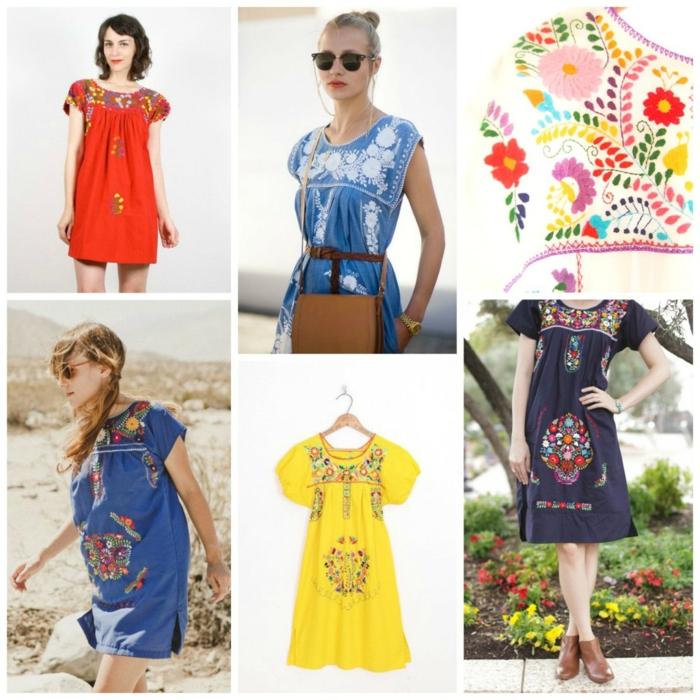 robe tunique avec une jolie broderie mexicaine, comment porter la robe mexicaine de façon moderne