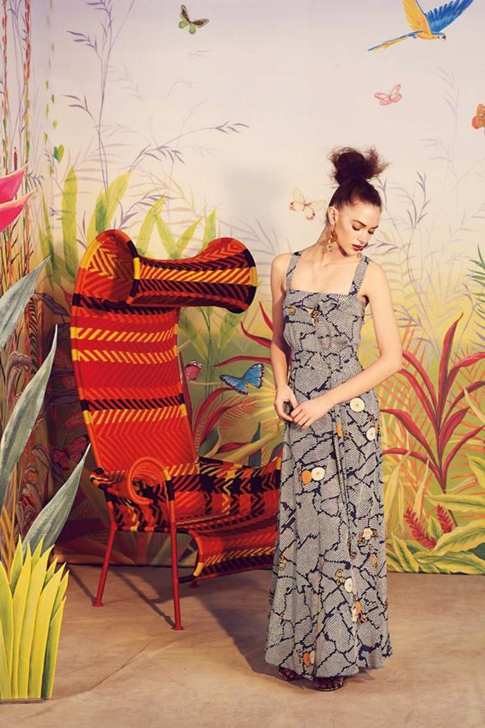 comment porter l'imprimé ethnique africain, longue robe imprimée à bretelles