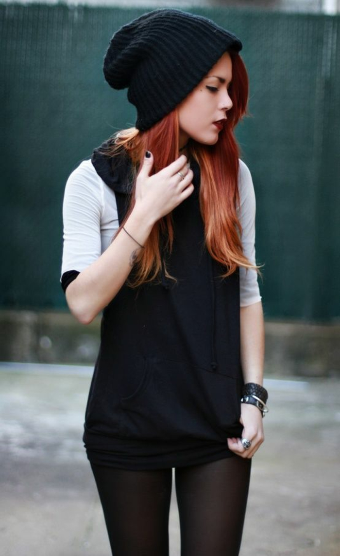 Look grunge femme vêtements rock femme bonnet noir