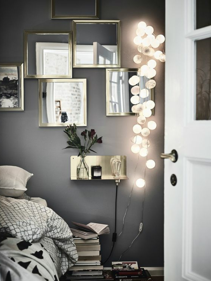 couleur assortie au gris, chambre grise, guirlande lumineuse, petit chevet suspendu