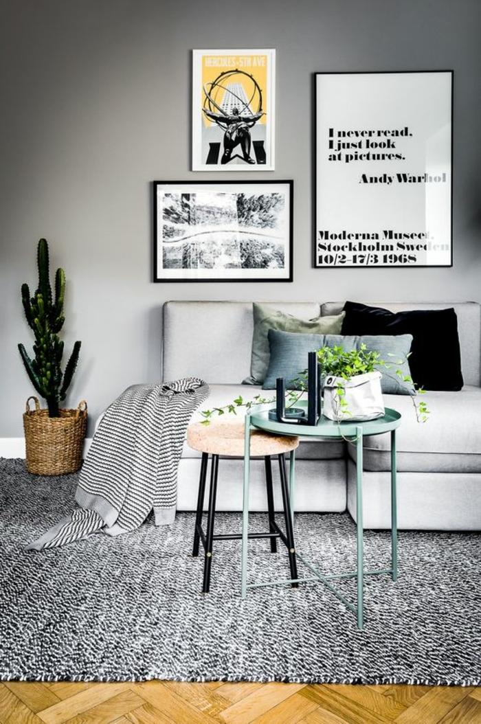 couleur assortie au gris, intérieur scandinave, mur gris clair, tapis gris, deux tables scandi,naves, cache pot panier