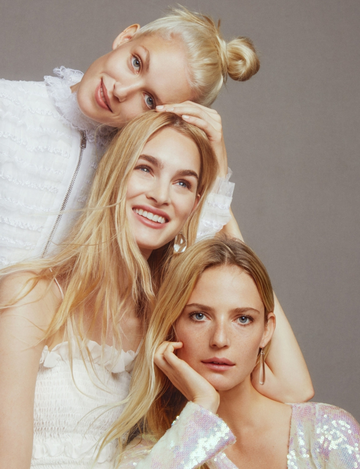 meches blondes, femmes blondes, robe blanche, chemise blanche, maquillage naturel, couleur blonde