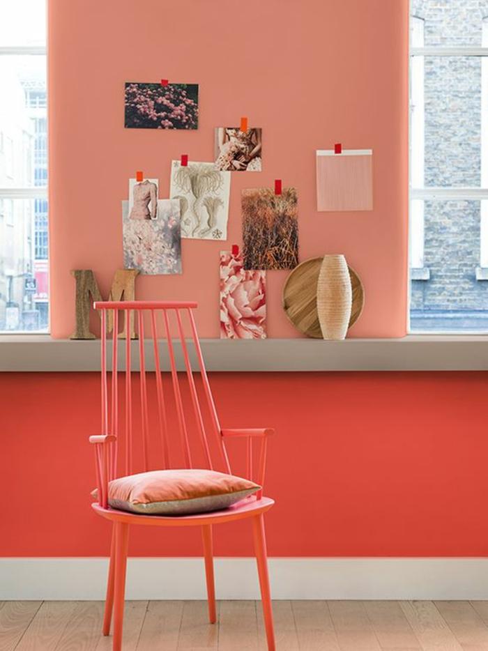 couleur dofus, mur couleur saumon, chaise rose, peintures acryliques et chaise rose corail