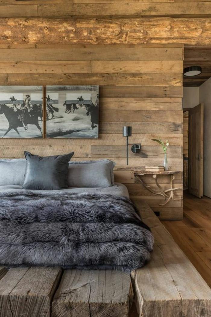 couleur qui va avec le gris, ambiance boisée style chalet, lit plateforme et couverture moelleuse