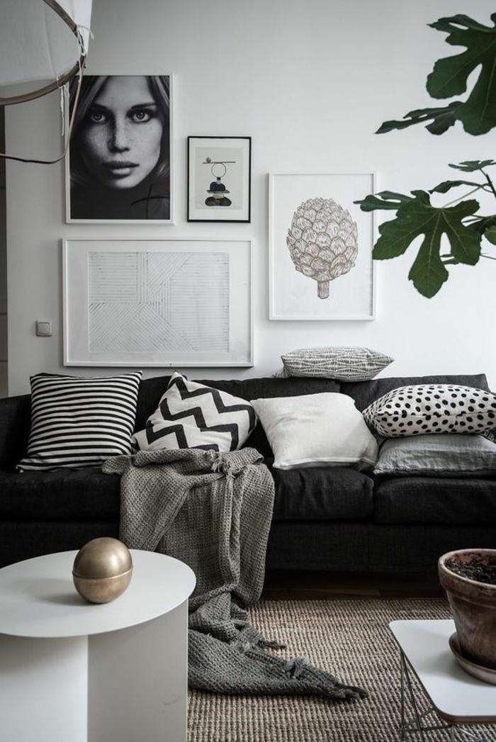 1001 id es de d cor en utilisant la couleur gris perle for Salon noir blanc gris