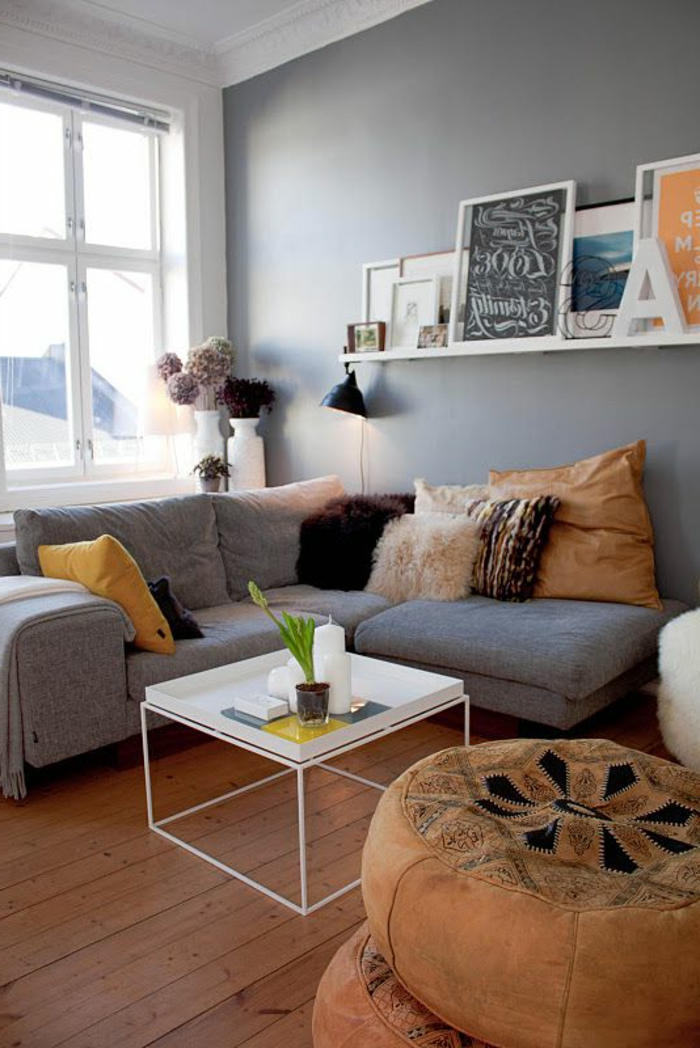Simple Great Couleur Qui Va Avec Le Gris Pouf Marocain Table Basse  Scandinave Sofa D With