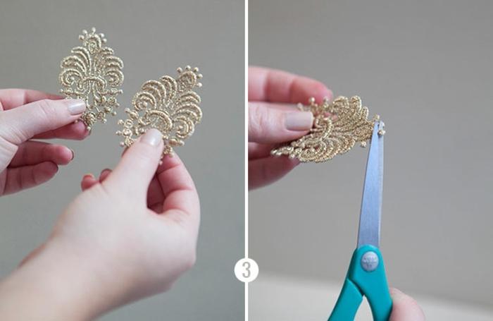 deco dentelle, donner de la forme aux appliques en dentelle, idée comment faire une boucle d oreille diy, ciseaux