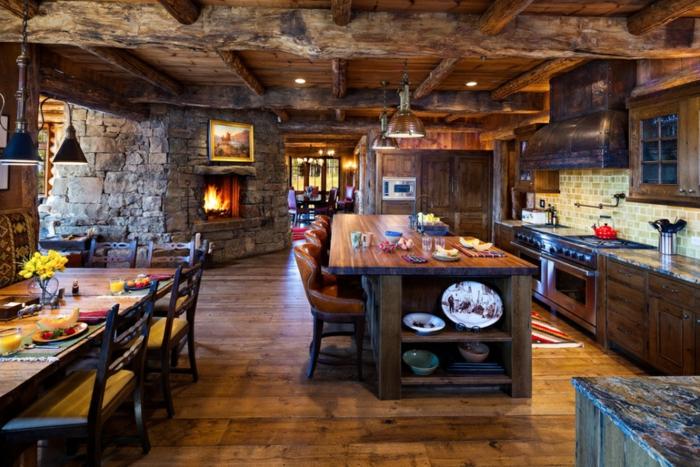 relooker sa cuisine, table à manger en bois, cuisine en bois, comptoir en bois, carrelage, peinture avec cadre doré