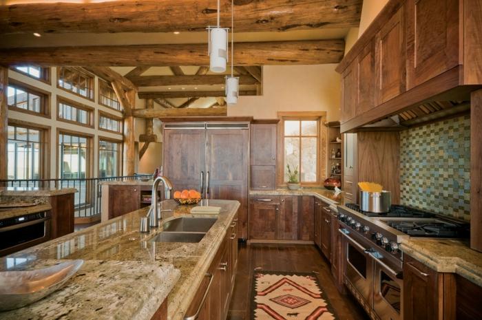 cuisine rustique, relooker sa cuisine, comptoir en marbre, évier, bol à orange, suspension luminaire, grande fenêtre