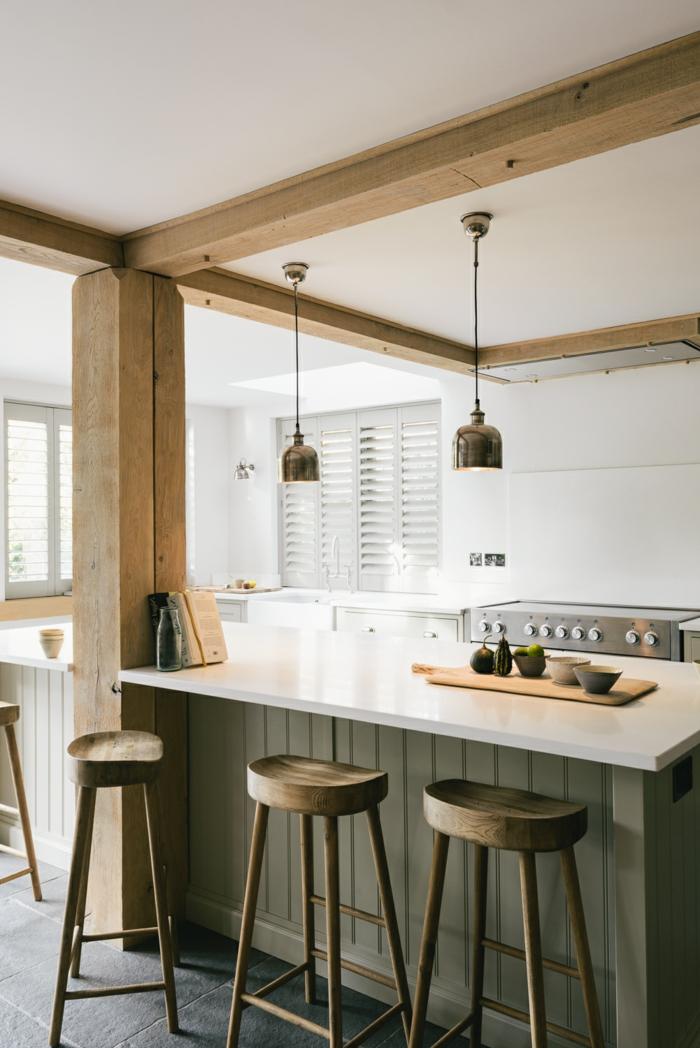 cuisine équipée, modele de cuisine, îlot centrale en vert kaki, tabouret de bar en bois, suspension luminaire en cuivre