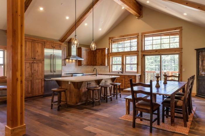 cuisine équipée, poutres en bois, éclairage LED, modele de cuisine, fenêtre à carreaux, cuisine actuelle