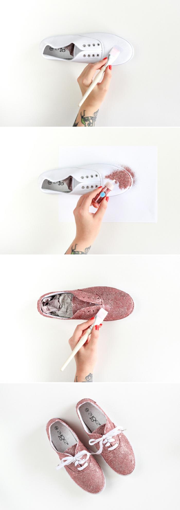 activité créative, comment customiser ses baskets blancs, des paillettes appliquées a l aide de colle, idée de génie bricolage