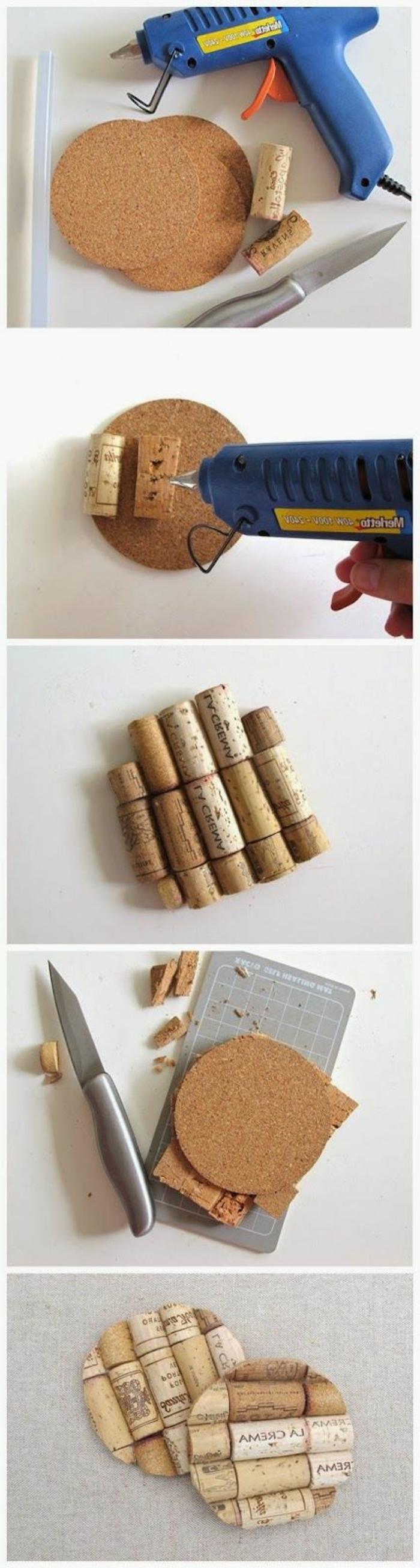 décoration bouchon liège, tapis de tasse à faire avec rondin de liège et des bouchons