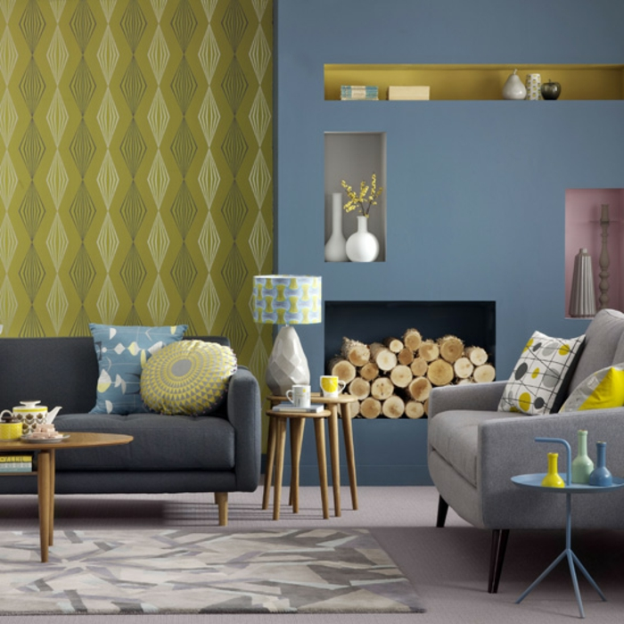 Idee deco salon gris et jaune for Mur salon moderne
