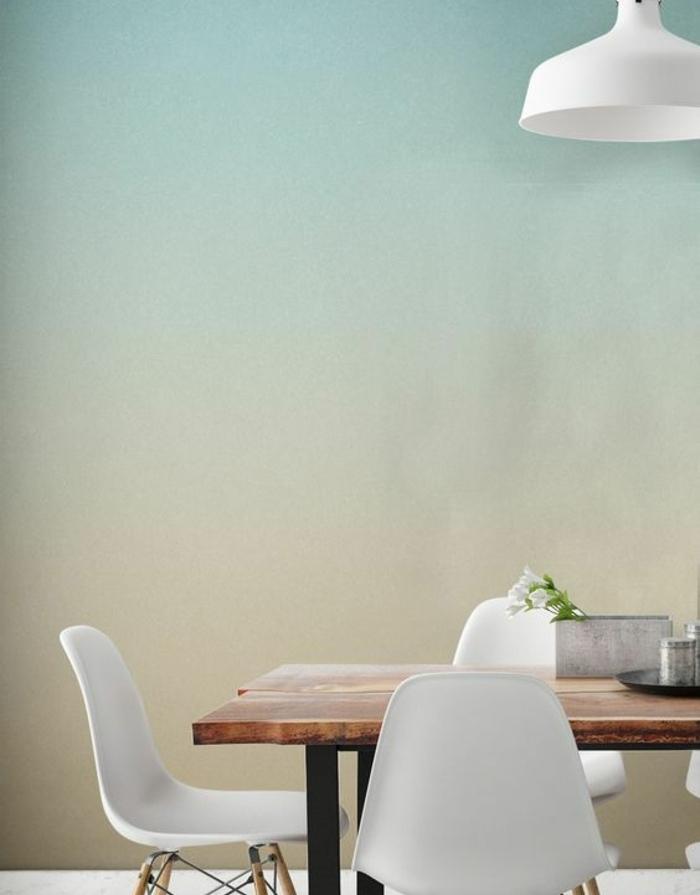 deco vleu et jaune, effet ombré couleur peinture, salle a manger rustique blanche, table en bois brut, chaises scandinaves blancs, suspension design