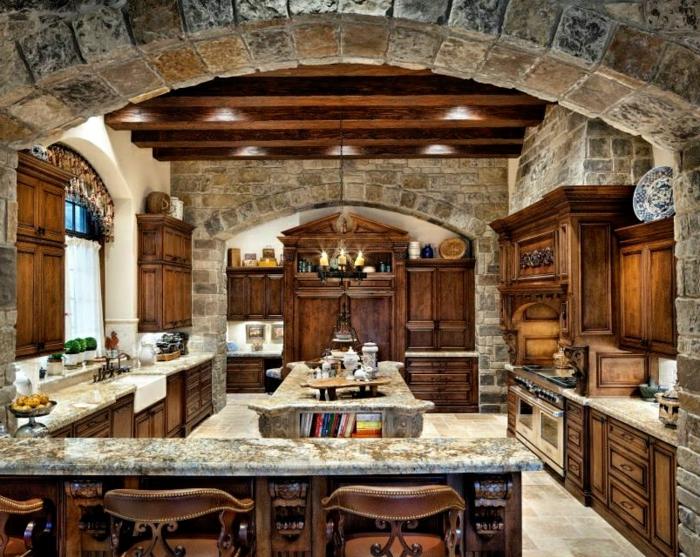 cuisine équipée, armoires en bois, plantes vertes, modele de cuisine, livres de cuisine, bougies, cuisine actuelle