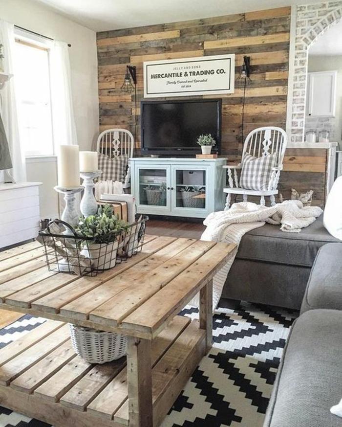 1001 conseils et id es pour am nager un salon rustique for Petit meuble blanc et gris