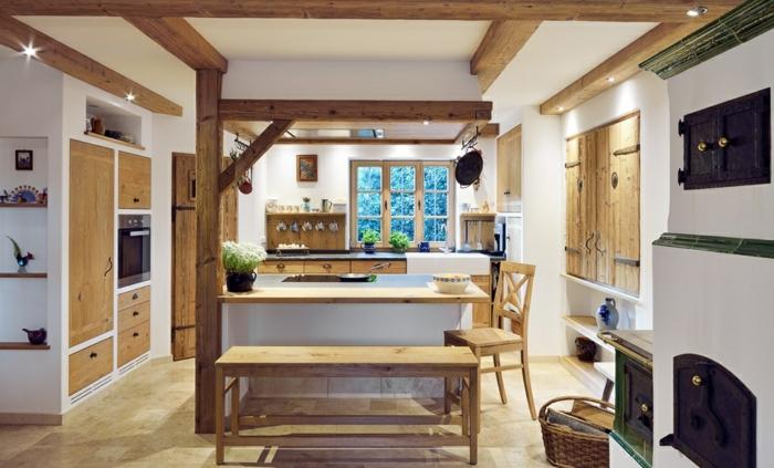 relooker cuisine en bois, plafond blanc, étagères en bois, éclairage LED, fenêtre à carreaux, cuisine blanche et bois