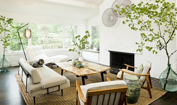 deco campagne chic rustique, tapis marron, chaise longue blanc, canapé en métal avec coussin d assise blanc, chaises en bois, table basse design, deco plantes vertes, cheminee, chien