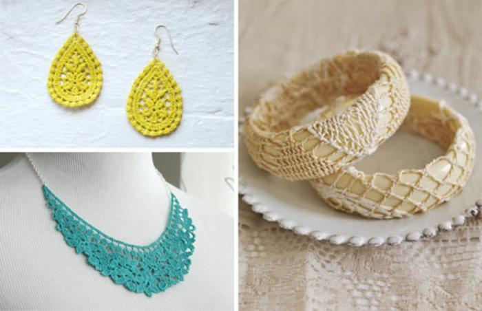 idée comment fabriquer des bijoux en dentelle, boucles d oreilles, collier, bracelets, deco dentelle accessoires femme