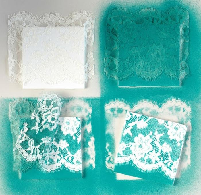un carreau customisé de motifs deco dentelle, decoration peinture bleu vert shabby chic, déco murale à faire soi meme