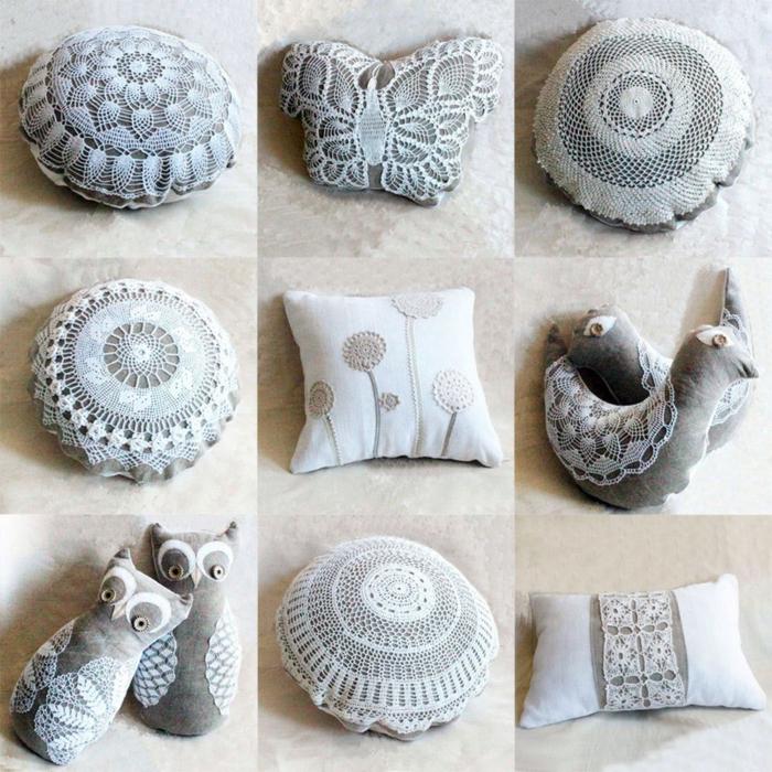des coussins de formes différentes, customisés de deco dentelle, animaux et coussins ronds, hibou, papillon et oiseau