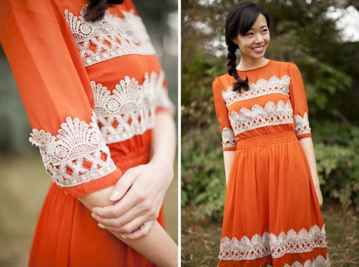 une robe orange customisée deco dentelle, idée comment personnaliser un vetement soi meme, exemple