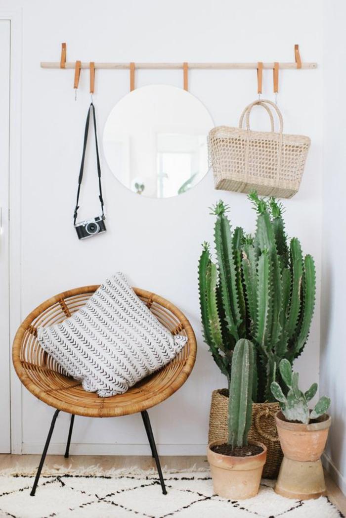 hall entrée maison avec mur couleur lavande et chaise en ratan ronde avec des cactus énormes