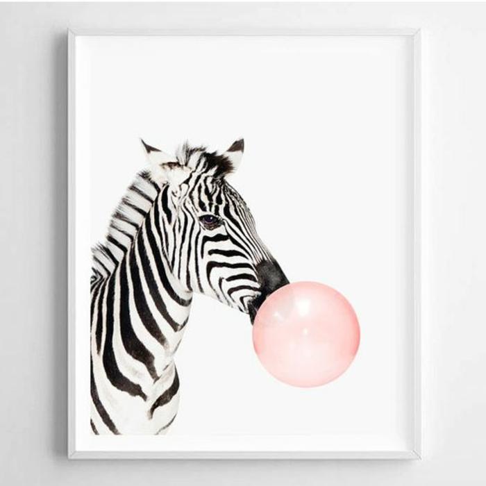 cadre photo personnalisé, art print motif zèbre, image à imprimer, zèbre, ballon rose, murs blancs