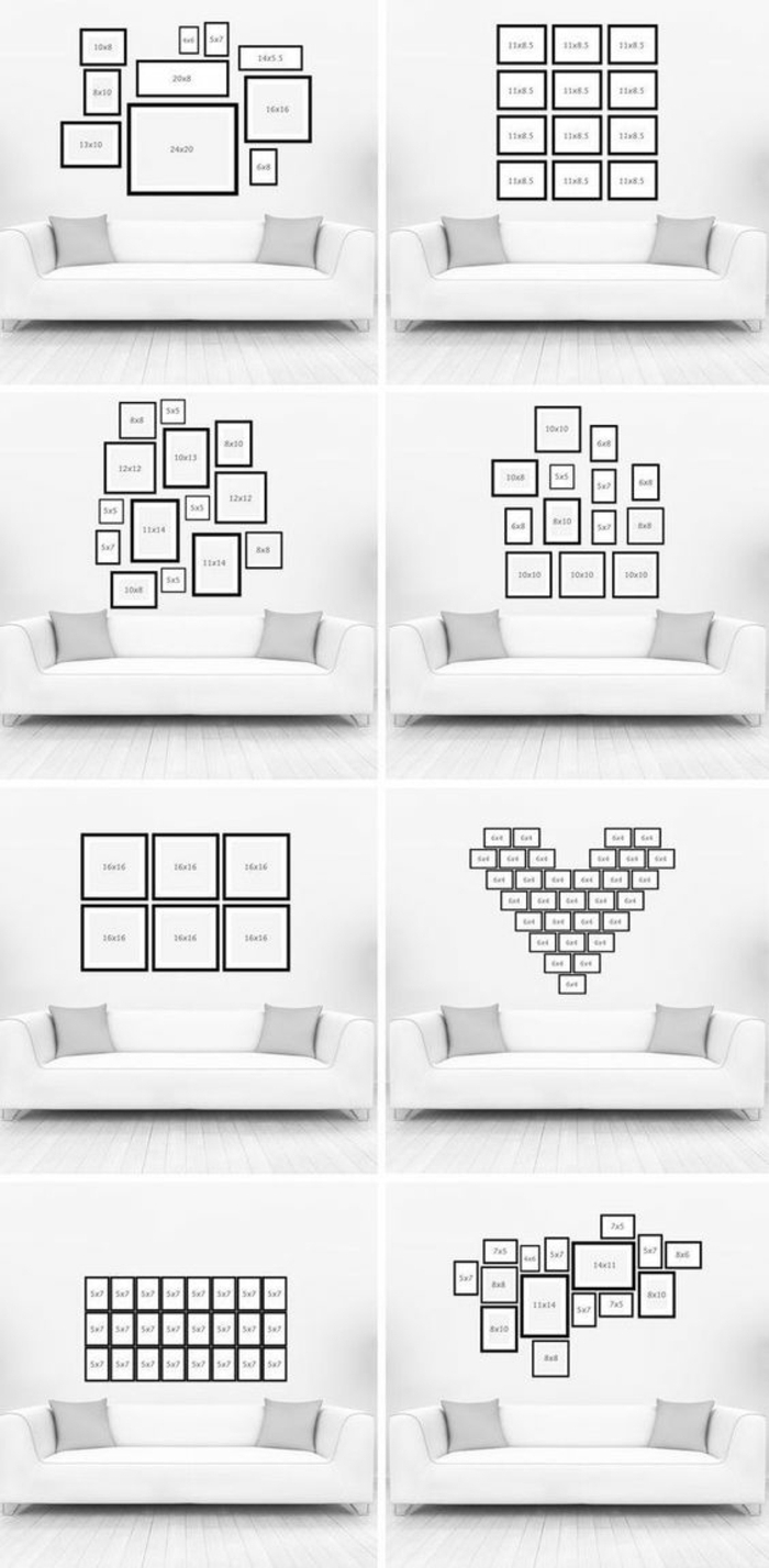 cadre photo personnalisé, modèle, comment arranger le mur de cadre, layouts, cœur de photos, coussins, canapé