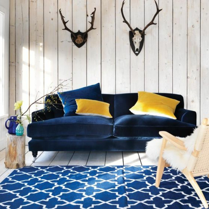 best decoration salon bleu jaune images. Black Bedroom Furniture Sets. Home Design Ideas
