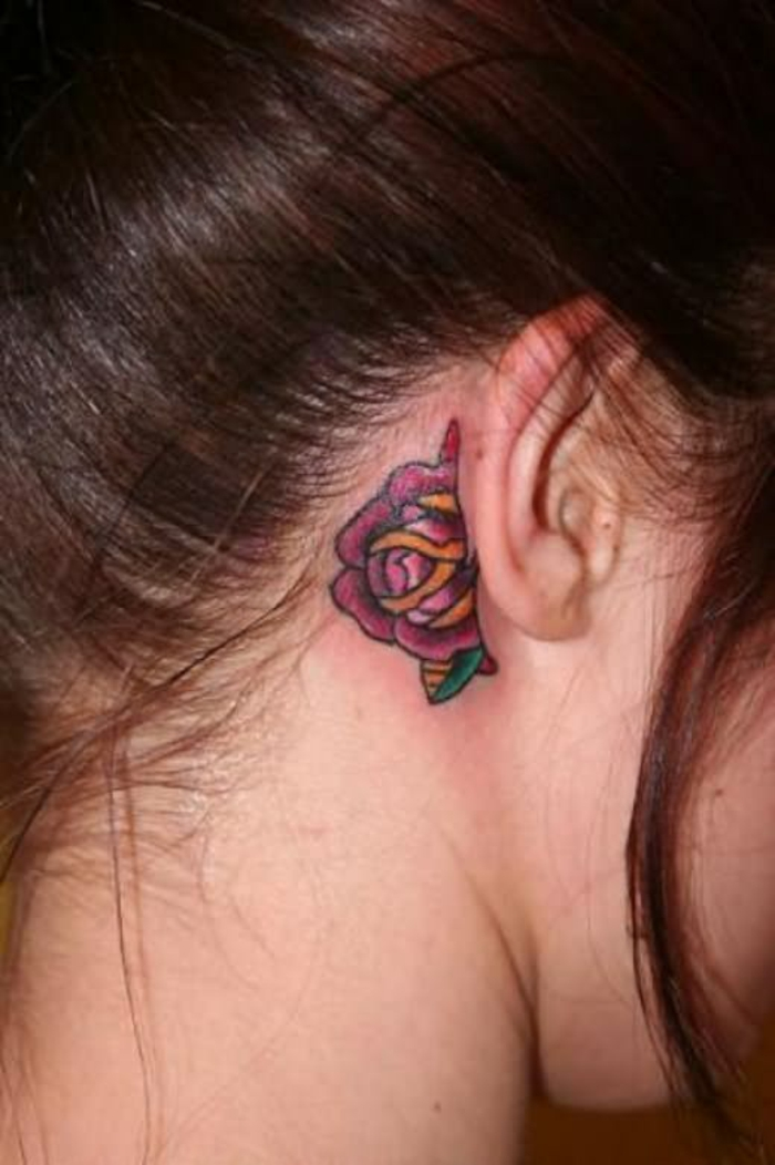 55 des meilleures id es tatouage oreille et sa signification - Tatouage femme derriere l oreille ...