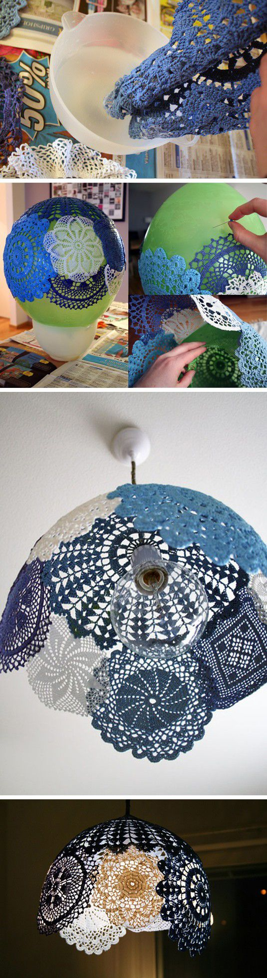 deco dentelle, tutoriel pour fabrique un abat jour a l aide de colle fait maison et napperons bleus, bricolage facile