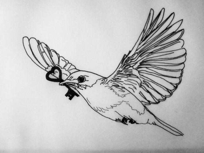 Les meilleures id es pour un tatouage oiseau et sa - Dessin d oiseau ...