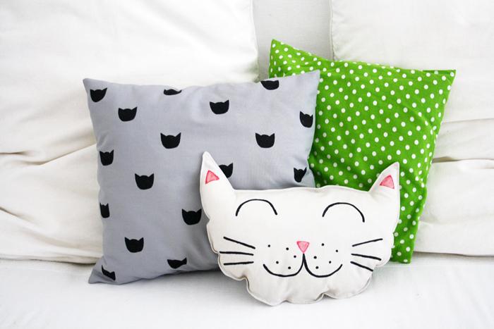 coussin forme de tete de chat oreiller original idée déco chats