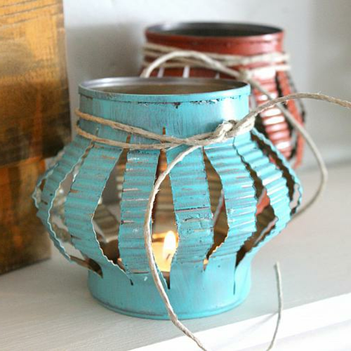 des lanternes fabriquées à partir de boite de conserve, petite bougie, activite manuelle a faire soi meme, bricolage facile