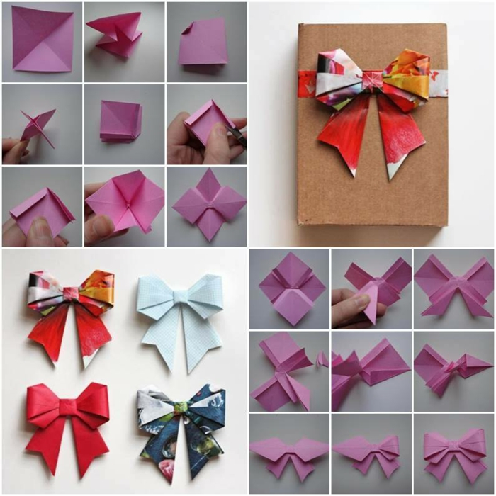 instruction de pliage papier pour faire un ruban décoratif en origami