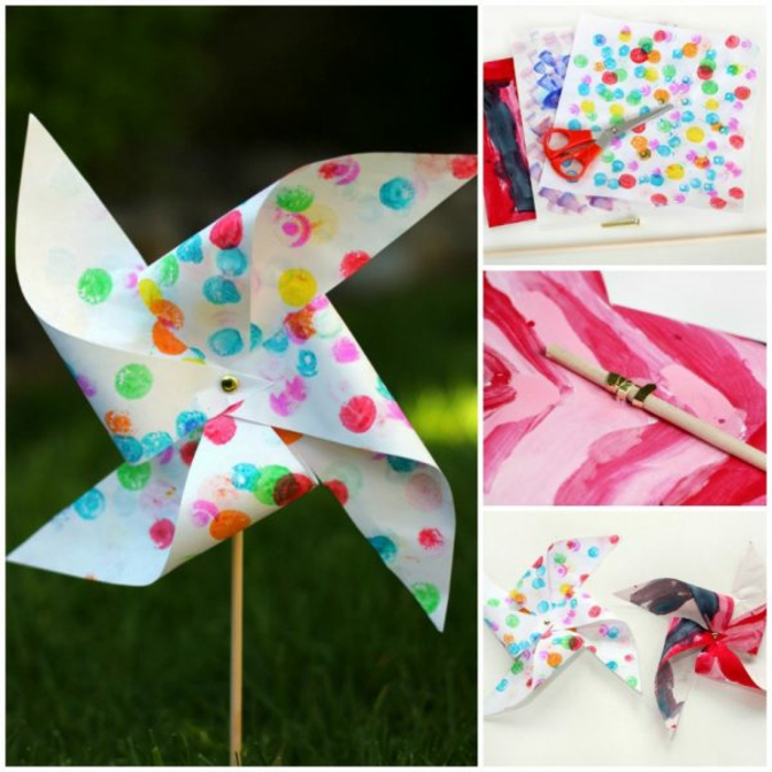 une activité manuelle créative pour les enfants avec un moulin à vent en papier recyclé